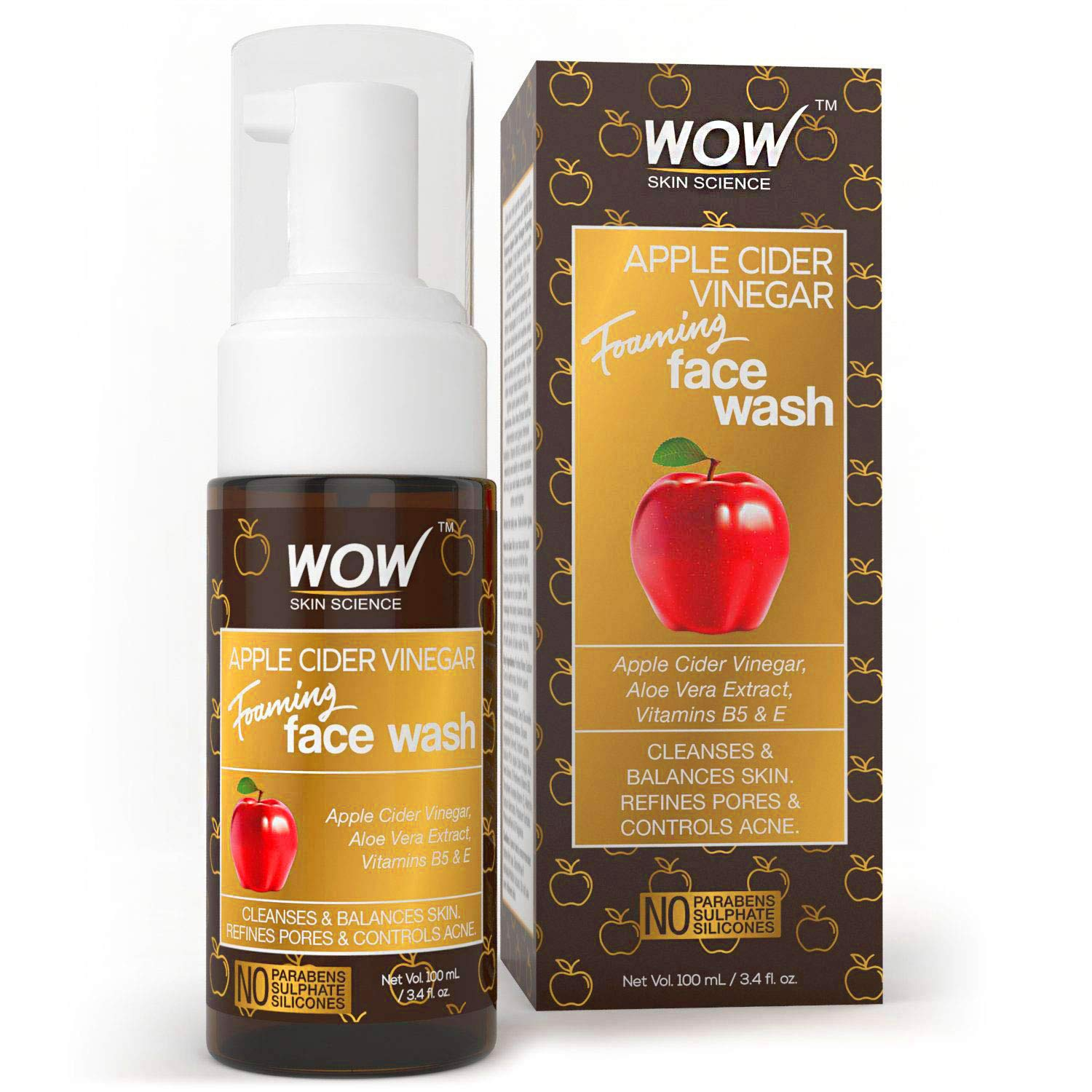 WOW Apple Cider Vinegar Foaming Face Wash Cleanser - Normal, Dry & Oily Skin - Heal, Hydrate For Soft, Clear Skin - Remove Dirt, Oil & Makeup, Reduce Acne Breakouts - Men & Women - All Ages - 100 mL by BUYWOW