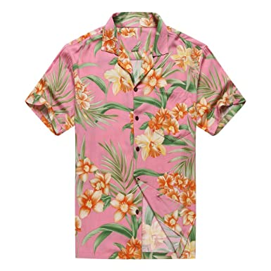 5aa3f346 Made in Hawaii Men's Hawaiian Shirt Aloha Shirt Orange Floral with Green  Leaf in Pink at Amazon Men's Clothing store:
