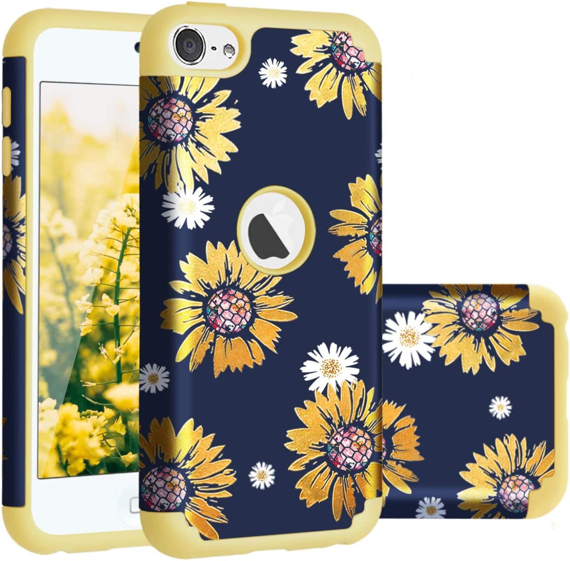 Casewind iPod Touch 7 case, iPod Touch 6 Case, iPod Touch 5/6/7 Case Sunflower Hard PC Silicone Dual Layer Hybrid Shockproof Anti-Scratch Bumper Protective Case for iPod Touch 5th 6th 7th Gen, Yellow