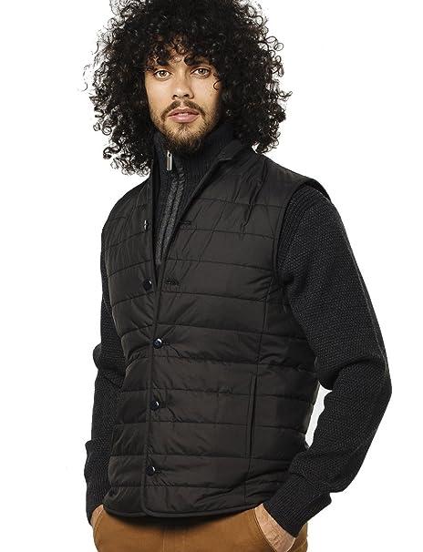 VEDONEIRE Chaleco para hombre (3058 BLACK) negro chaqueta acolchada sin mangas del chaleco