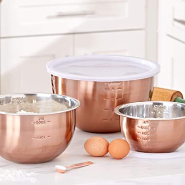 Brylanehome 6-Pc. Set Of Copper Mixing Bowls & Lids - Copper