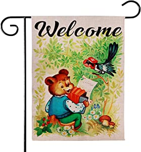 "Angeloken Garden Flag - Hello Welcome Bear Accompaniment Birds Singing - Vertical Duplex Printed Burlap House Courtyard Decoration Spring Summer Fall Winter Yard Decor Banner 12.5""x18"" (Music Forest)"