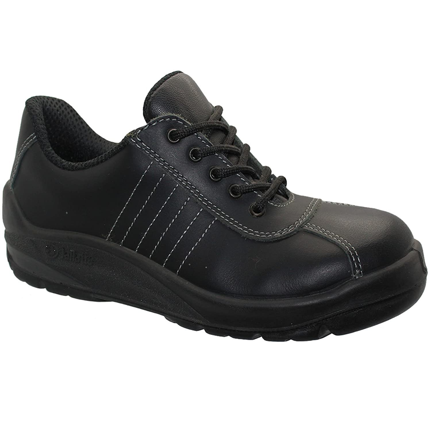 WOMENS LADIES black   LEATHER WORK SAFETY STEEL TOE CAP BOOTS SHOES TRAINERS