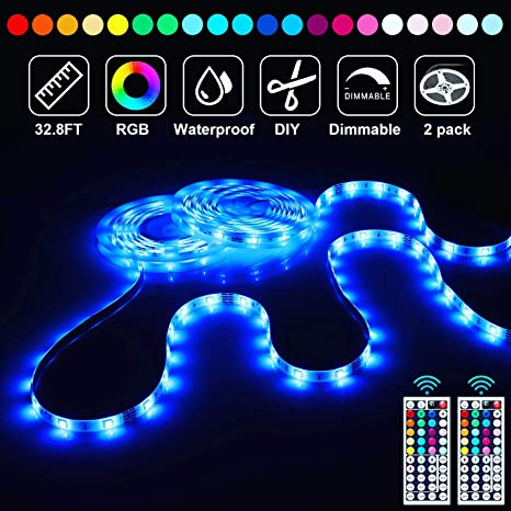 Amazon Com 32 8ft Led Strip Lights Rgb Waterproof Light Strip Room Lights Flexible Tape Lights With Remote Dimmable Led Lights Strip Smd5050 For Tv Bedroom Kitchen Bar Decor Home Improvement