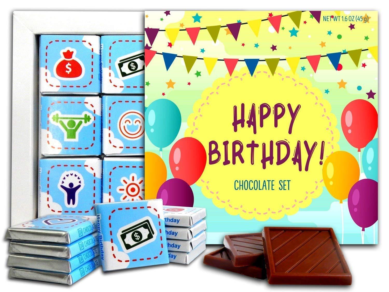 Happy Birthday Chocolate gift set ♛ DA CHOCOLATE 5x5 box 9 pieces of chocolate (Yellow Prime 0682)