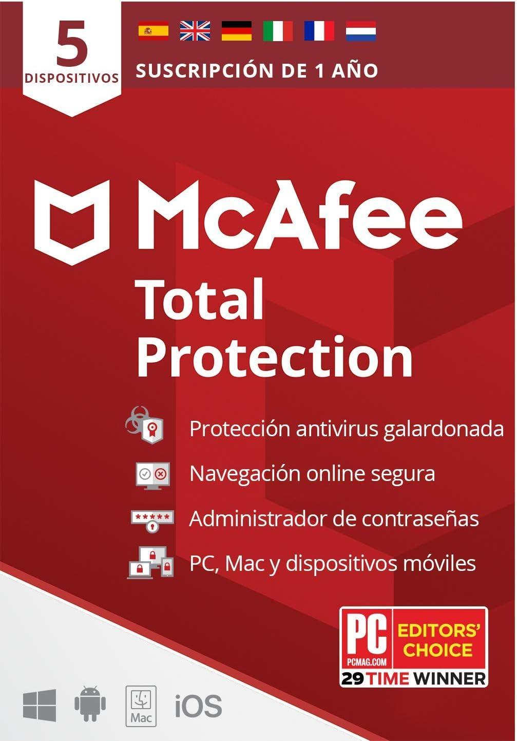 McAfee Total Protection 2021, 5 Dispositivos, 1 Año, Software Antivirus, Seguridad de Internet, Móvil, Manager de Contraseñas, Compatible con PC/Mac/Android/iOS, Edición Europea, Código por Correo