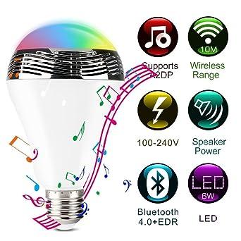Led Et Edw La Speaker Lampe Bluetooth L'application De Fil Sans mN0wnv8