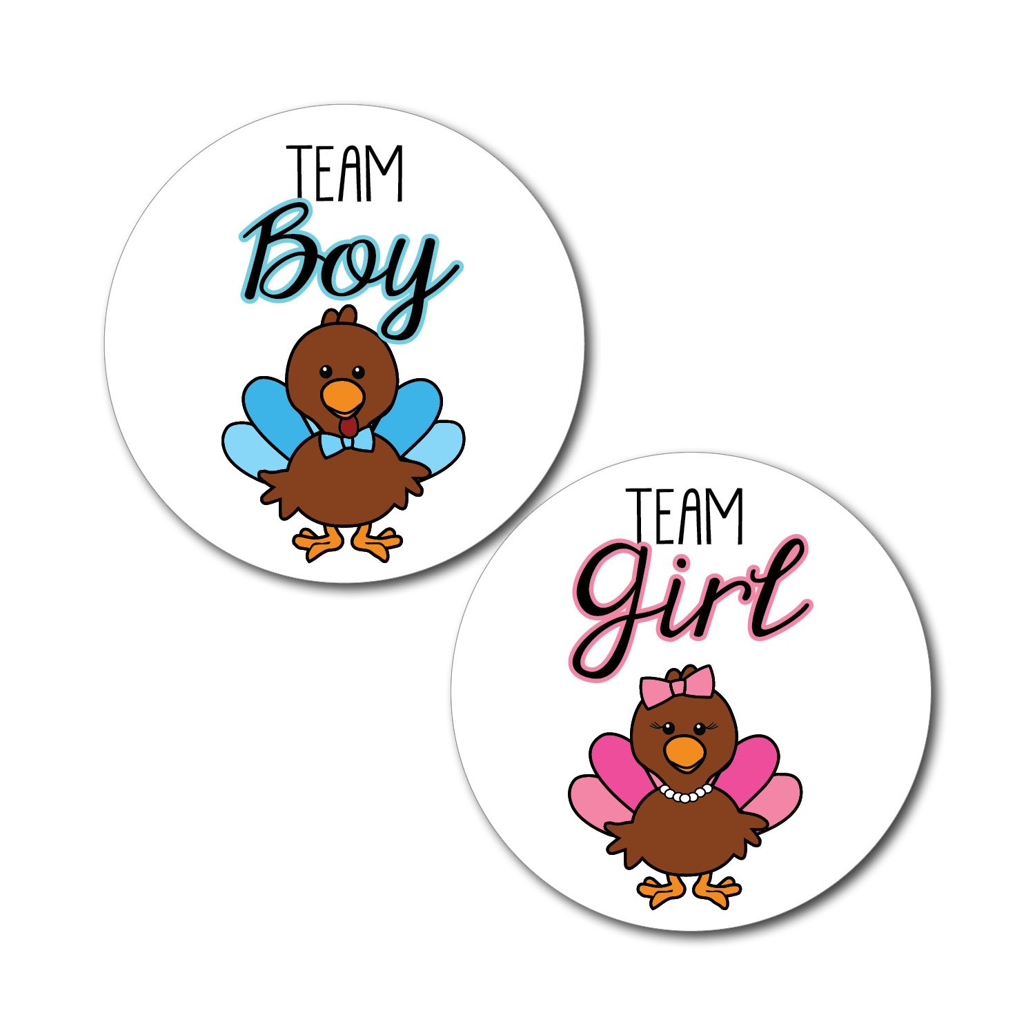 2.5 Set of 36 Turkey Team Girl & Team Boy Gender Reveal Party Stickers - Thanksgiving Autumn Fall Baby Shower - pink & blue