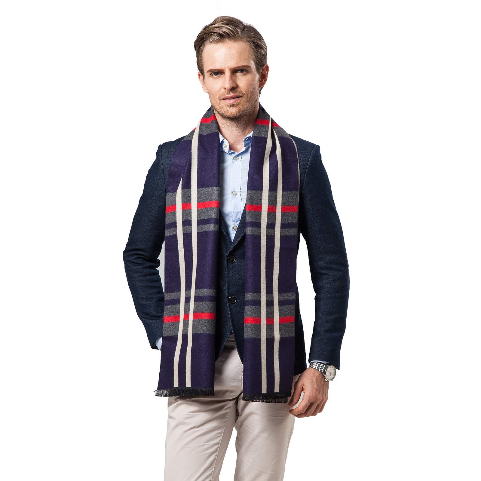 Men Winter Cashmere Scarf Soft Warm Neckwear Fashion Designer Shawl Bussiness Casual Scarves (Navy Lattices)
