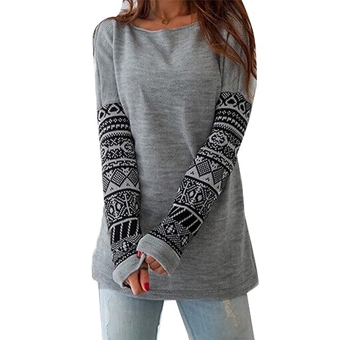 Minetom Mujer Otoño Invierno Primavera Camisas Cuello Redondo Tops Moda Pullover Suéter: Amazon.es: Ropa y accesorios