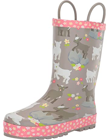 60fb90d681f8 Western Chief Girls Waterproof Printed Rain Boot with Easy Pull on Handles