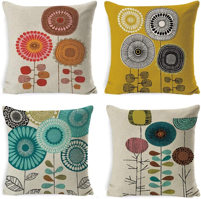 DUSEN Cartoon Flowers Pattern Decorative Throw Pillow Covers for Couch, Sofa, or Bed Set of 4 18 x 18 inch Modern Quality Design Cotton Linen Cusion Cover