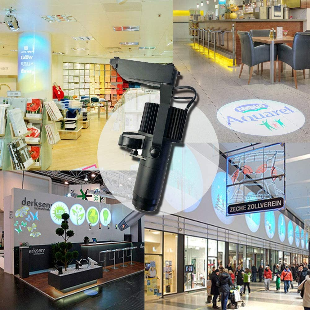 Monochrome 20W Black Track Type LED GOBO Projector Advertising Logo Light Indoor GOBO Projector Signs with Custom Rotating Glass Gobos