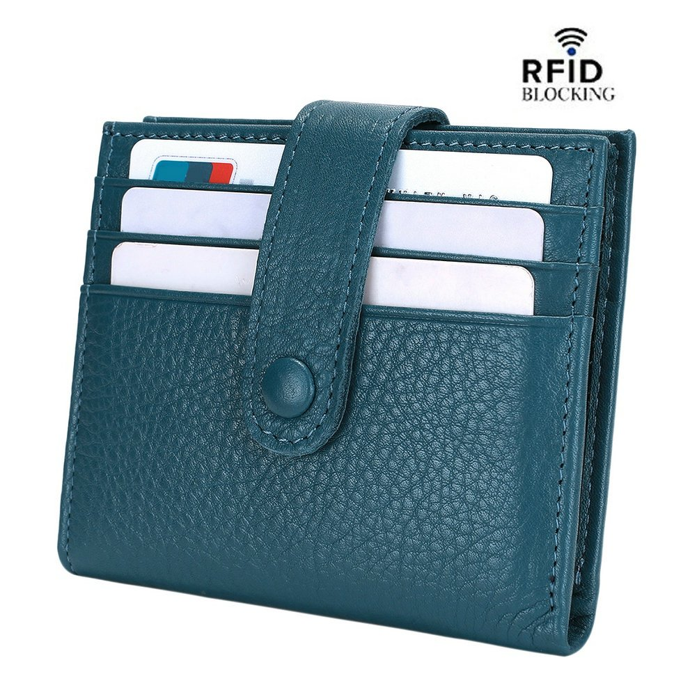 Reeple Women's RFID Blocking Small Compact Bifold Leather Pocket Wallet with ID Window(Blue)