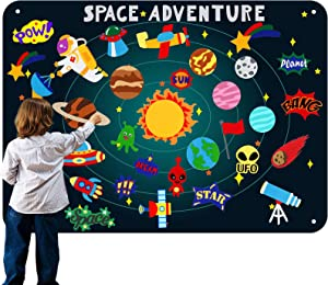 Preschool Outer Space Felt Flannel-Board Stories for Toddlers, with Solar System Felt Precut Figures, Large 3.5 Ft Wall Storyboard, Gifts for 3+ Years Old Kids - 32 Pieces