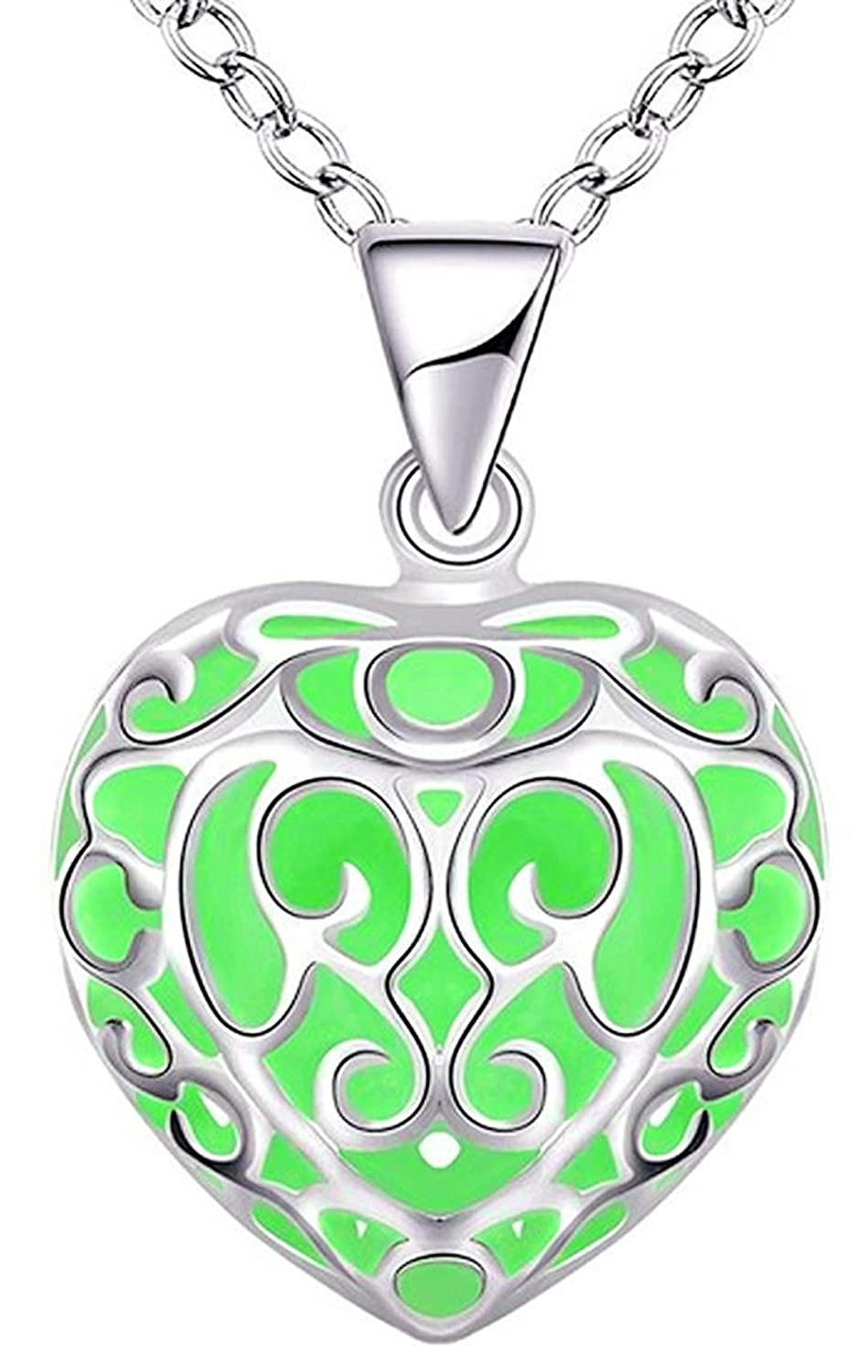GREEN GLOW IN THE DARK SILVER HEART NECKLACE PENDANT LADIES GIRLS WOMENS