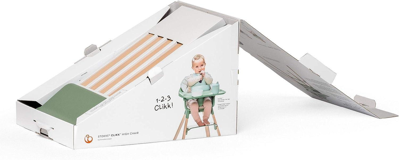Stokke Clikk White Trona de madera con arn/és y bandeja │ Silla de beb/é para comer con asiento y reposapi/és ajustables │ Port/átil │ color