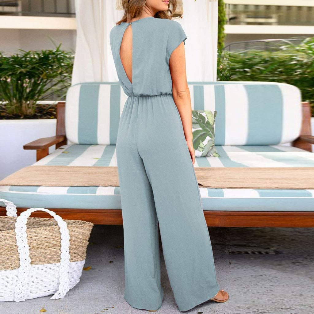 Amazon Com Jumpsuit And Romper For Women V Neck Short Sleeve Open Back Ruched Knot Front Loose Wide Leg Long Pants Clothing