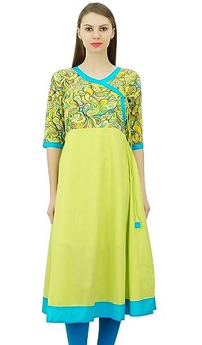 Phagun Desgaste del Partido diseñador del Vestido Indio del Estilo étnico Angrakha Exclusiva Impreso...