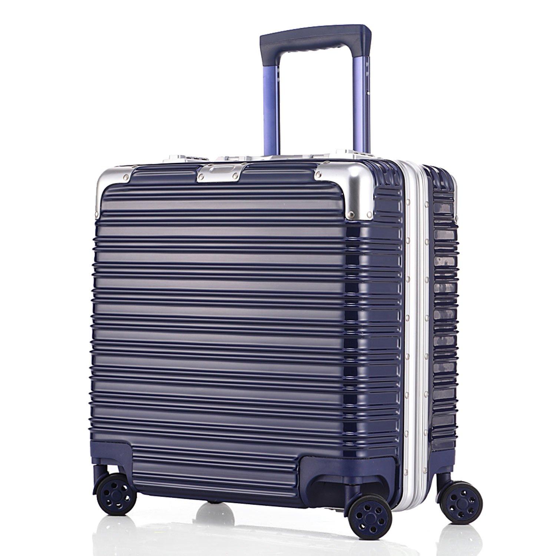 (アスボーグ)ASVOGUE スーツケース キャリーケース 復古風 TSAロック 鏡面仕上げ アルミフレーム 旅行 超軽量 ファスナーレス 機内持込おOK キャリーケース B07793BP3X SS|ブルー-ボーダー ブルー-ボーダー SS
