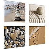"""Visario 6902 - Set da 4 foto su tela a tema """"sabbia – wellness"""", 4 x 20 x 20 cm"""