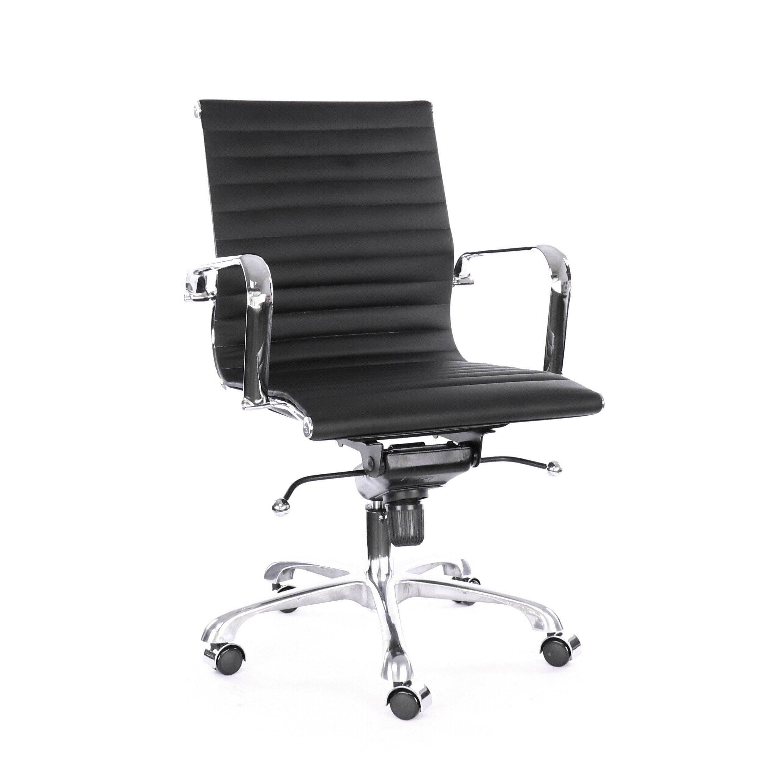 Design Lab MN LS-0007-BLKCRM Century Black Modern Classic Aluminum Office Chair (Set of 2),
