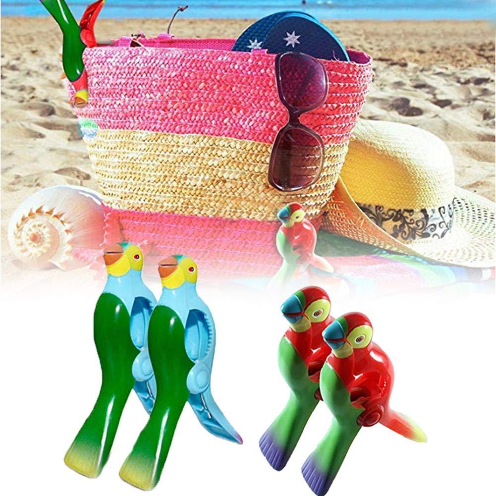 2PCS Beach Towel Clips Beach Windproof Clips Simulation Parrot Cartoon Clothes Hangers Plastic Clip