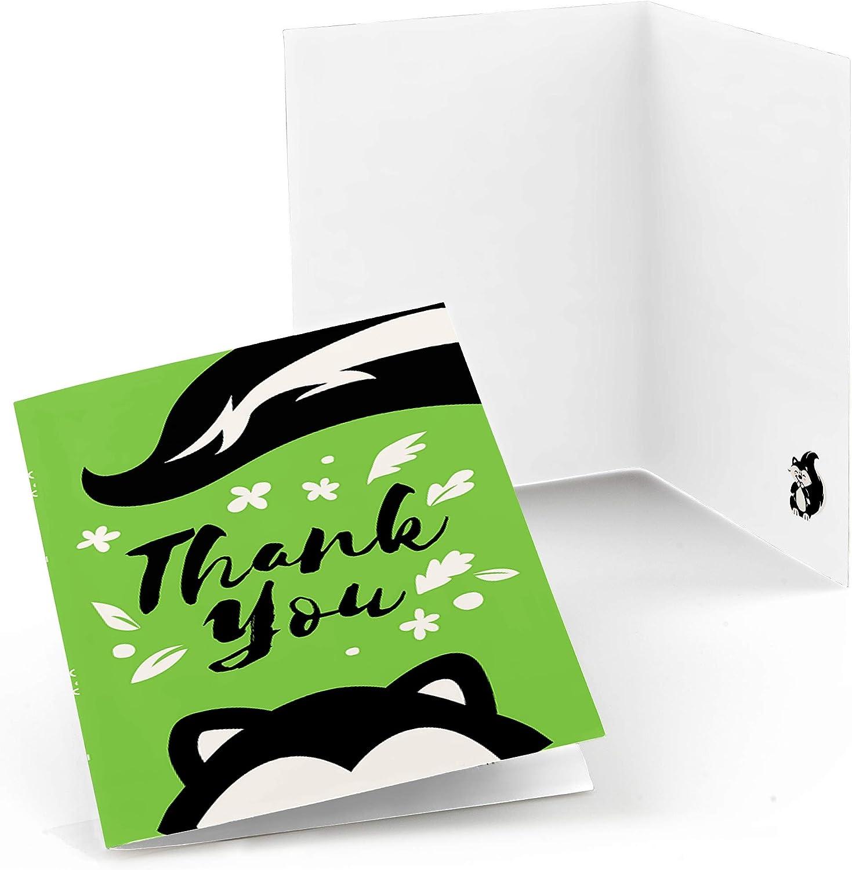 리틀 스틴커 - 우드랜드 스컹크 베이비 샤워 또는 생일 파티 감사 카드 (8 카운트)