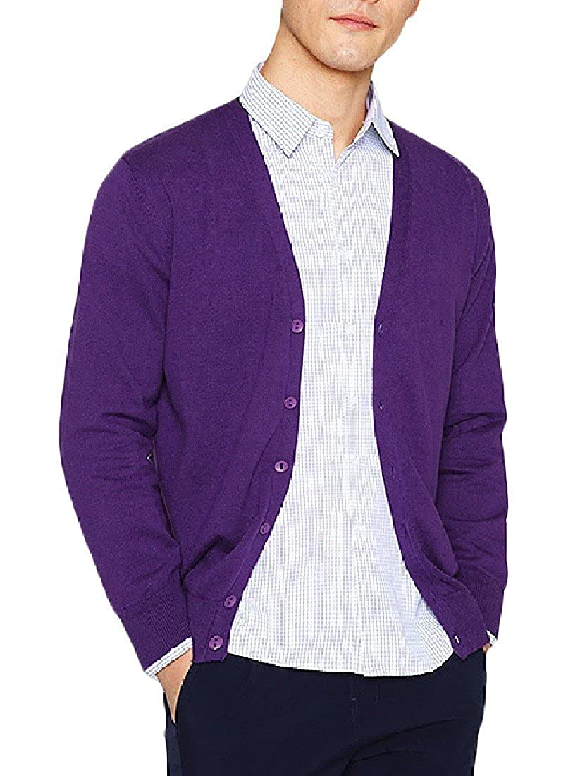 Fieer Mens Basic Leisure Solid-Colored Open Front Cardigan Sweater
