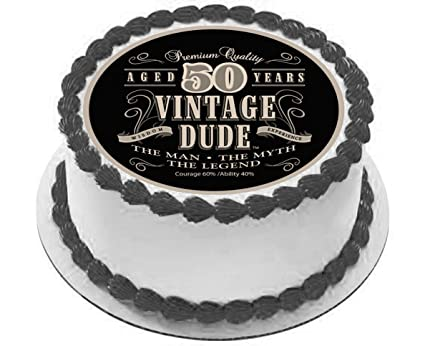 Vintage Dude Edible Wafer Cake Topper 50th 60th 70th 80th 90th Birthday