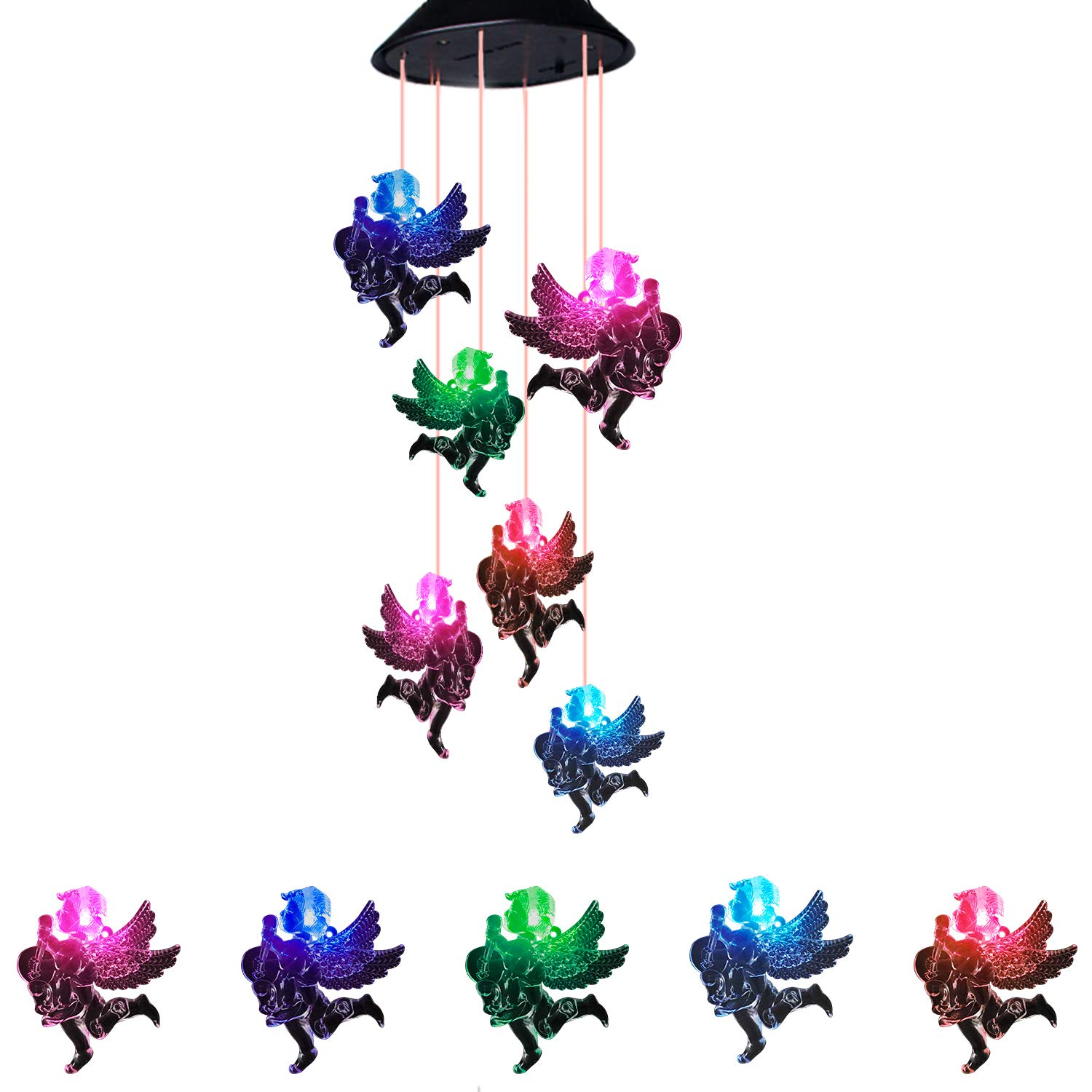 Suniness Solar Powered Wind Chimes, LED Solar Mobile Wind Chime,Color-Changing Waterproof LED Hanging Lamp Wind Chime for Outdoor Indoor Gardening Lighting Decoration Home (Angel) by Suniness
