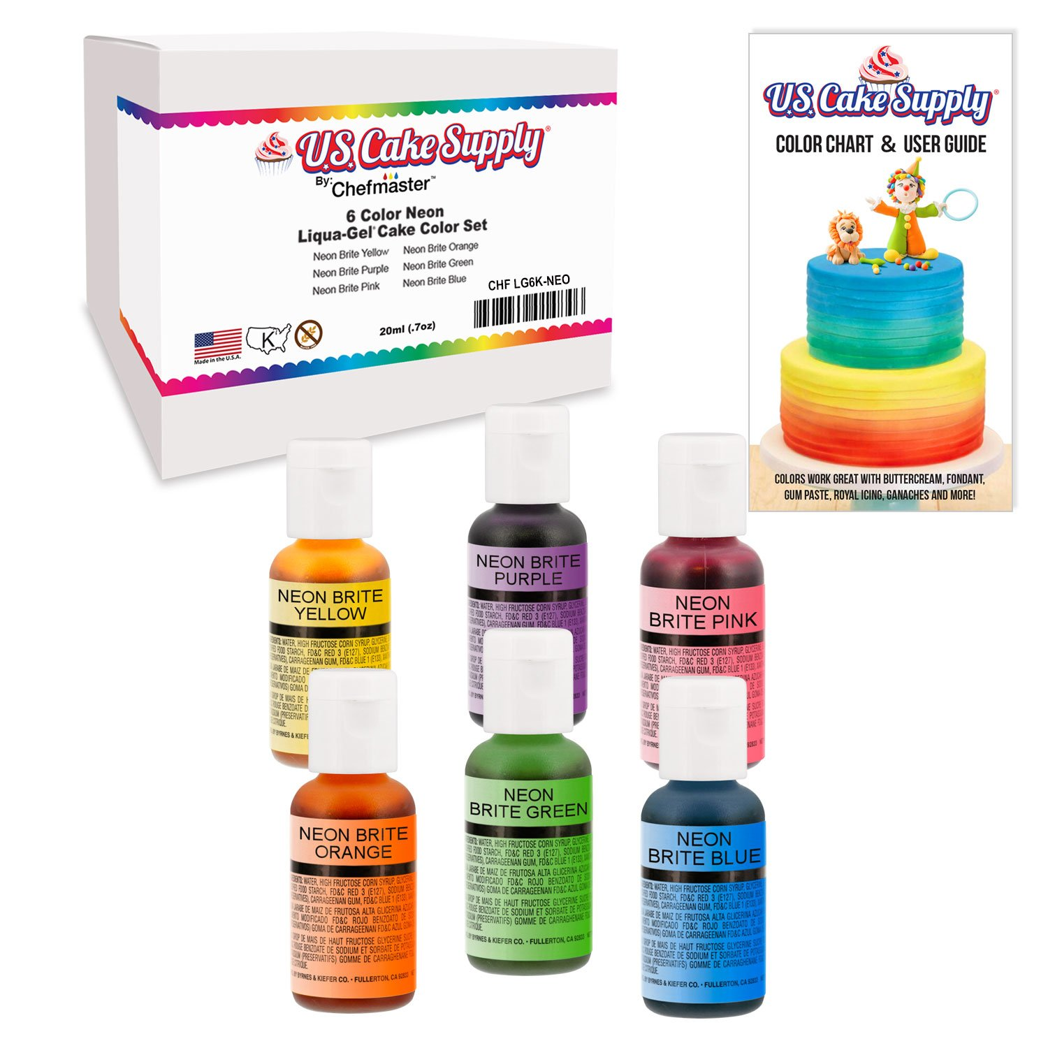 6 Food Color Neon US Cake Supply by Chefmaster Liqua-Gel Paste Cake Food Coloring Set - 0.75 fl. oz. (20ml) Bottles