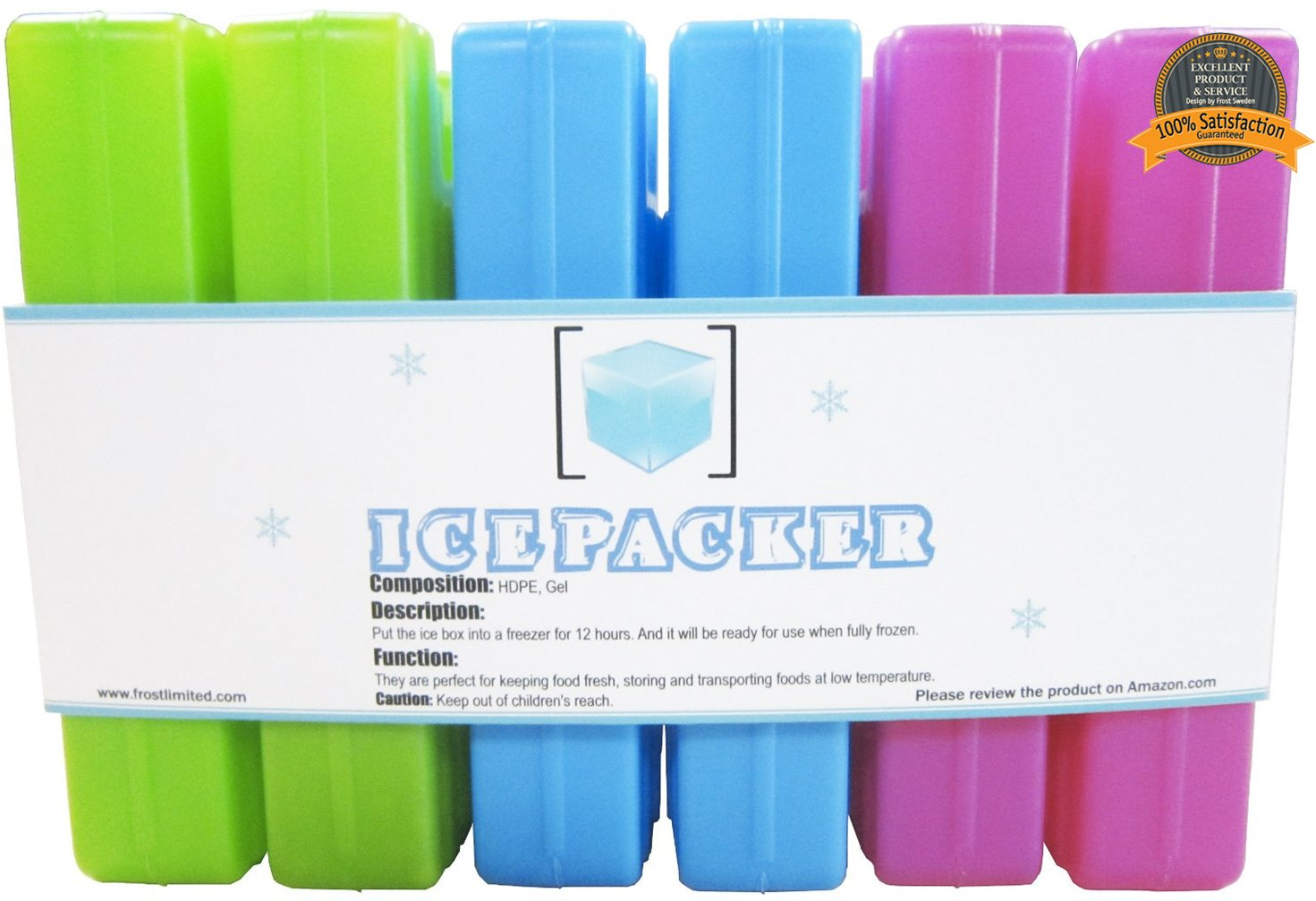 6 Reusable Ice Packs for Lunch Boxes, Lunch Bags, Coolers, and Cooler Bags – Slim and Long-Lasting To Keep Food Cold and Fresh – Set of 6 Compact Freezer Packs – Multicolored