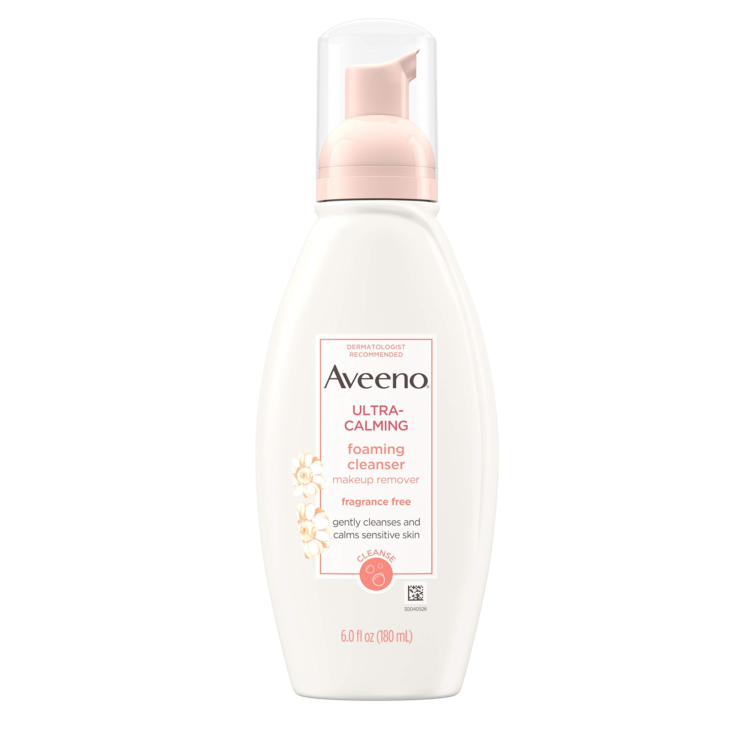 Aveeno Ultra-Calming Foaming Cleanser & Makeup Remover Facial Cleanser with Calming Feverfew, Face Wash for Dry & Sensitive Skin, Hypoallergenic, Fragrance-Free & Non-Comedogenic, Unscented, 6 Fl Oz