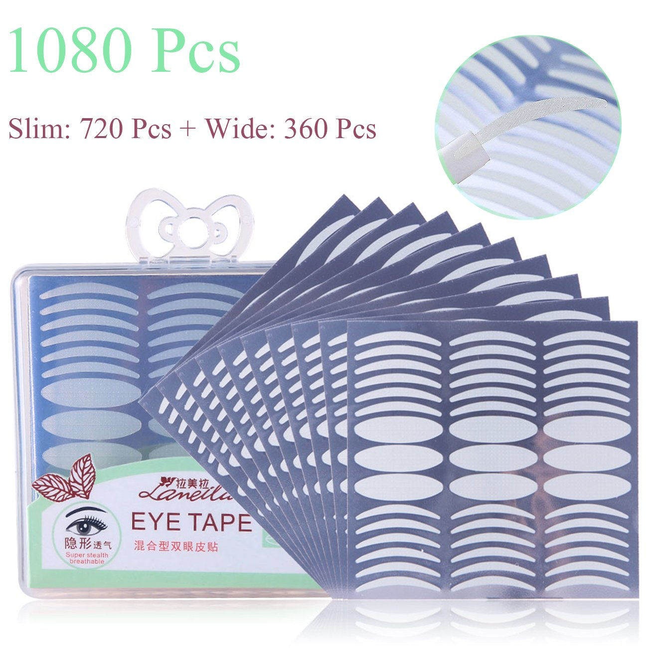 1080 Pcs / 540 Pairs Eyelid Lift Strips Naturally Invisible Eyelid Tape Breathable Big Eye Makeup Tool