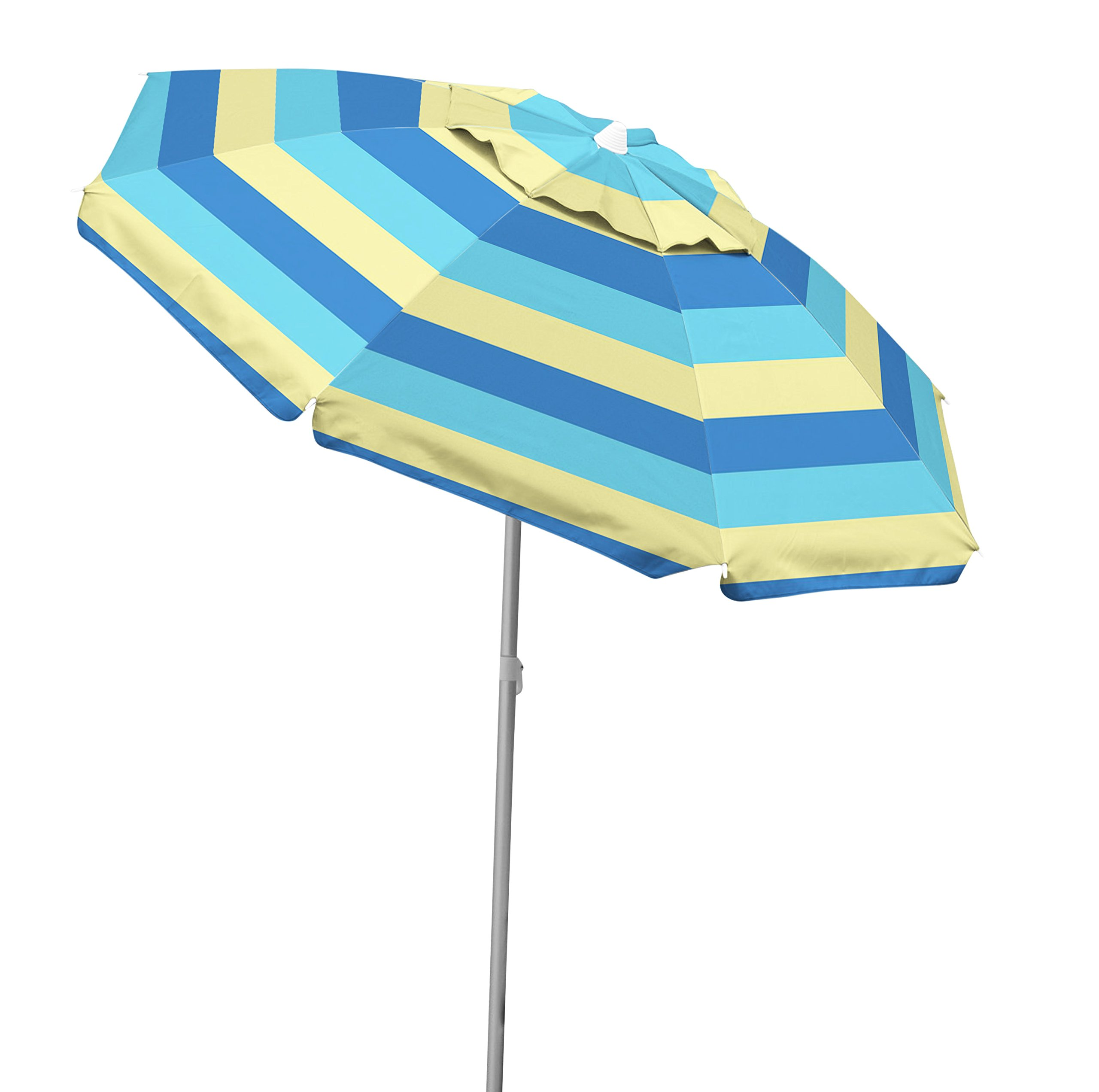 Caribbean Joe Tilting Beach Umbrella Double Canopy Windproof Design with UV Protection, Stripe, 6.5' by Caribbean Joe