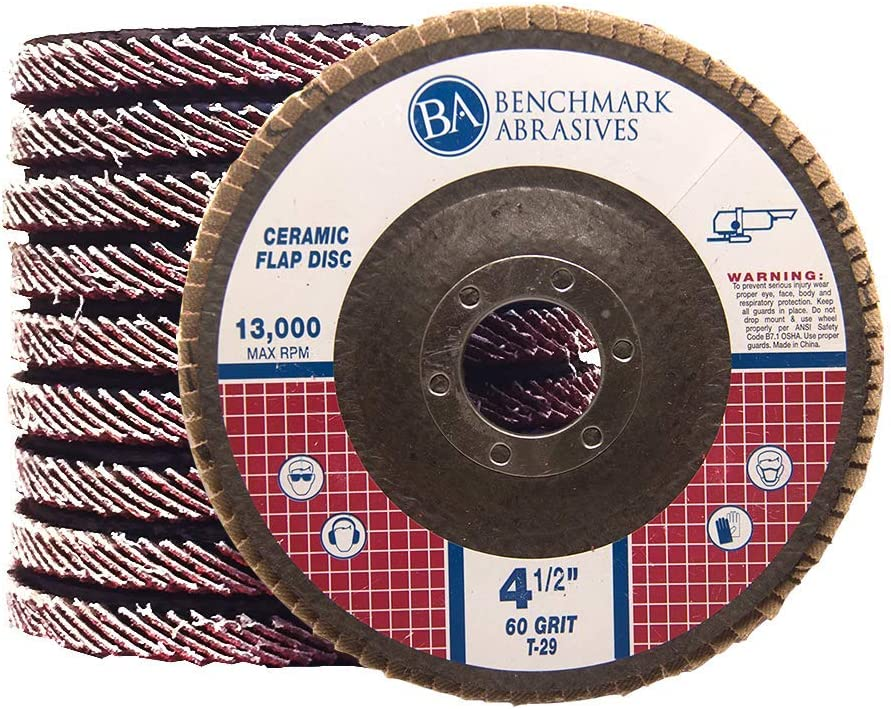"""10 Pack - 4.5"""" x 7/8"""" Ceramic Flap Discs T29 (Angled) for Stainless Steel & Heat Sensitive Metals (60 Grit)"""