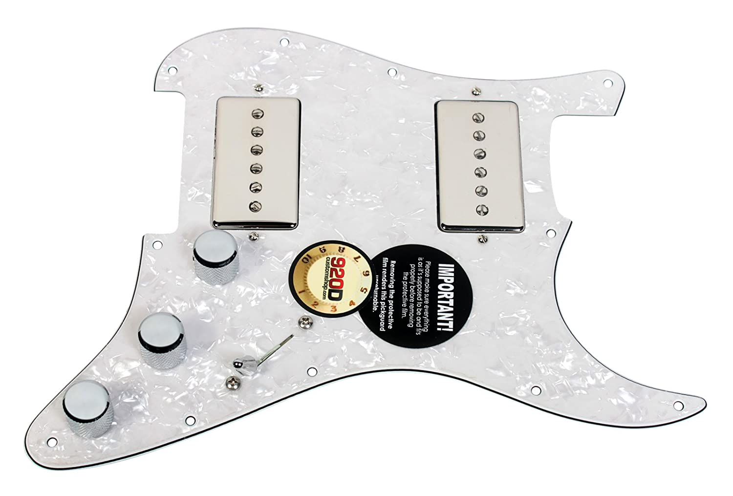 amazon com: 920d loaded hh pickguard fender strat duncan phat cat, nickel -  white pearl: musical instruments