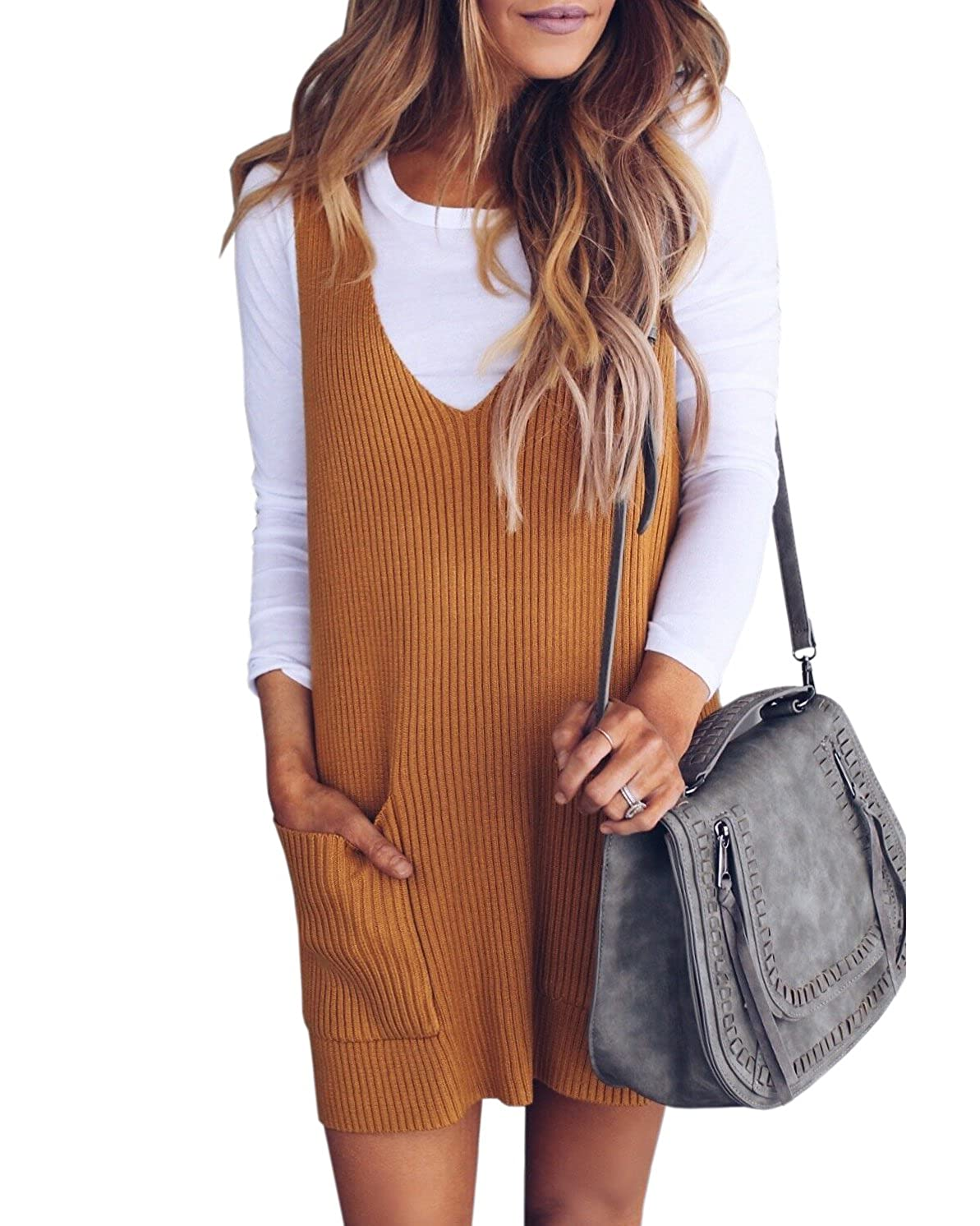 6307e1c67629 Saodimallsu Womens Racerback Tank Sweater Dresses Fall Ribbed Knit Loose V  Neck Dress Pockets at Amazon Women s Clothing store