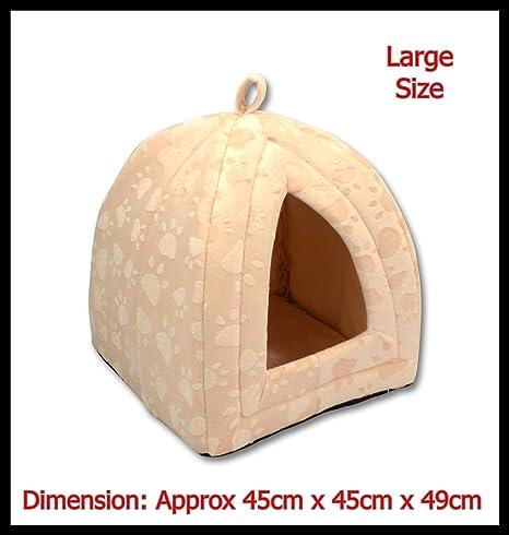 Tamaño grande lujo mascota iglú perro gato suave cómoda Casa Cama Iglú (Cream)