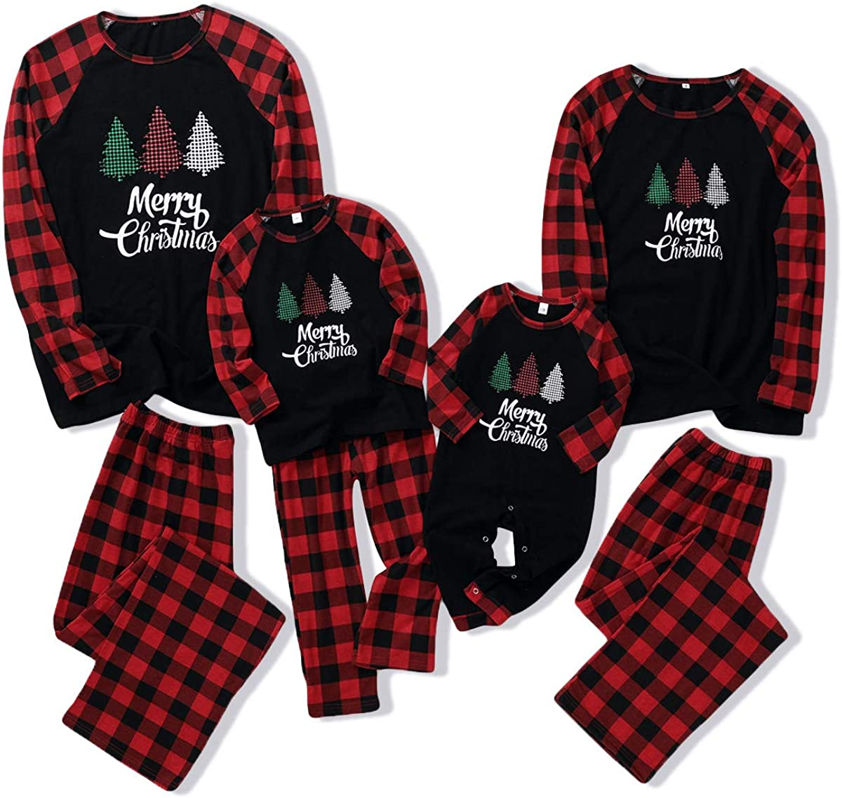 Merry Christmas Pajamas Family Christmas Matching Clothes Outfits Set for  Dad Mom Baby Kids