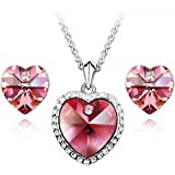 GoSparking Pink Crystal 18K White Gold Plated Alloy Heart Earrings & Pendant Set with Austrian Crystal For Women ST48121