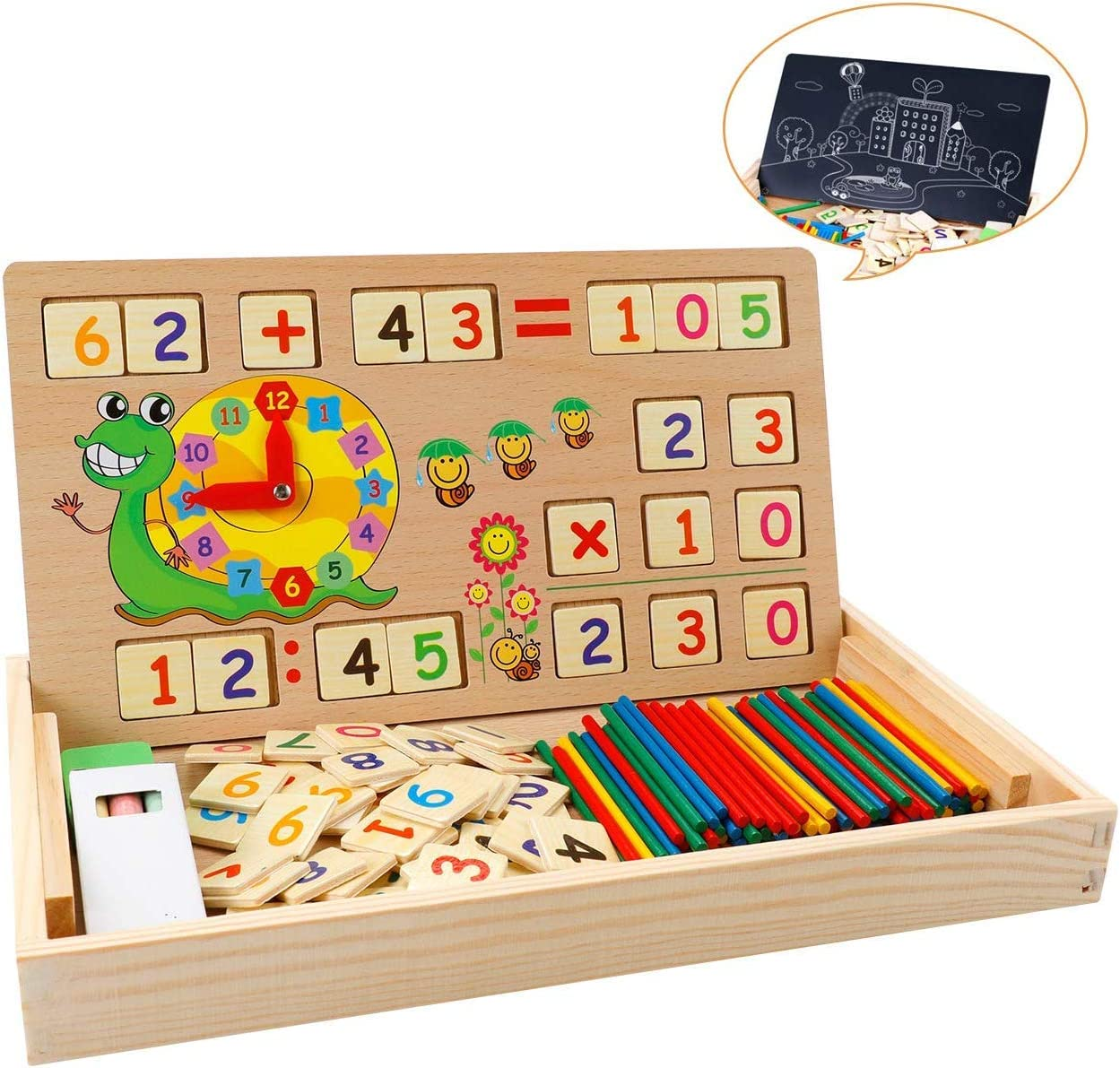 BABYHELEN MONTESSORI MATHE Spielzeug aus Holz Lernbox