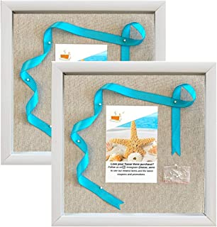 product image for flag connections (2-Pack) 12x12 White Display Shadow Box Frame with Linen Background and 16 Stick Pins - Ready to Hang Shadowbox Picture Boxes