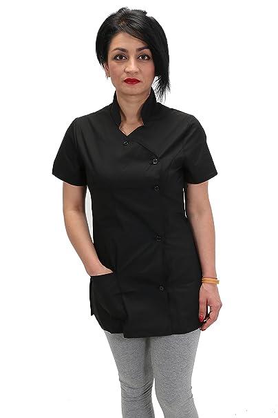 Camici da lavoro donna abbottonatura laterale SLIM-FIT estetista  parrucchiera cuoca  Amazon.it  Abbigliamento 5f7714f78cd