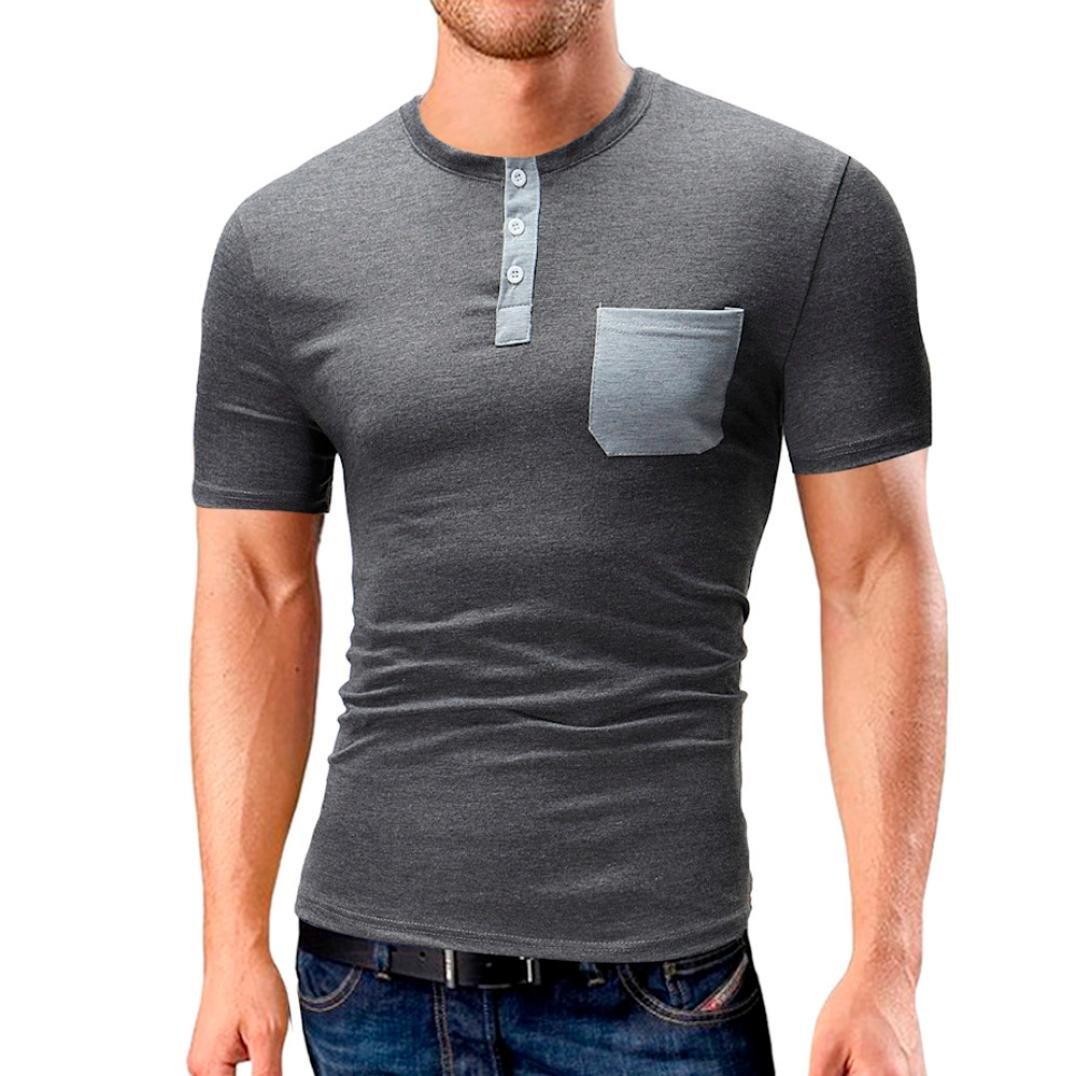 Longra Herren T-Shirt Einfarbige T-Shirts Taschen-Trend T-Shirts Kurzarm Knopfleiste Bluse Tops mit Rundhalsausschnitt Casual Basic O-Neck Shirts Freizeit Oberteile  XXL|Gray