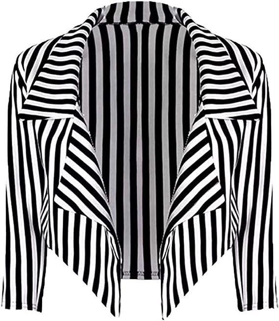 Amazon.com: Loxdonz Abrigo de mujer con estampado de rayas y ...
