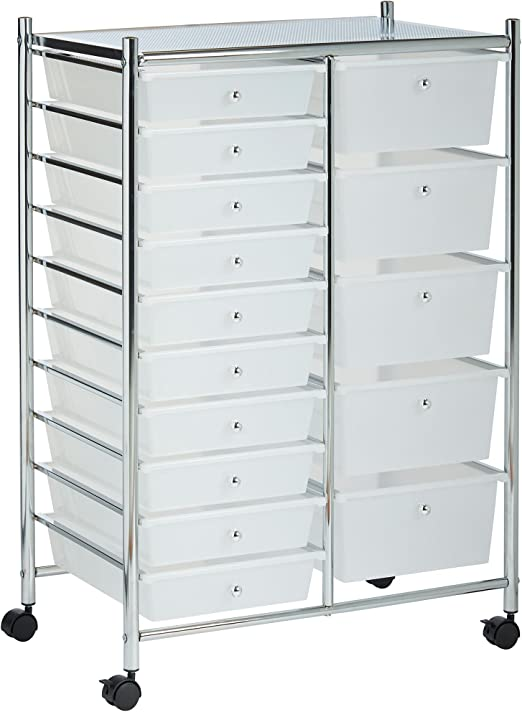 Vonhaus 15 Drawer Plastic Storage Trolley With Wheels Multipurpose Rolling Cart Drawers Unit For Home Office Stationery Organisation Crafts Salon Make Up Hairdressing Beauty Mobile Design With 10 Tier Shelving White
