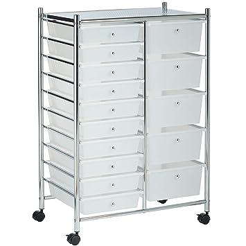 VonHaus 15 Drawer Storage Trolley | Home Office Supplies Or Make Up U0026  Beauty Accessories