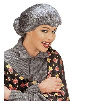 Gris Tante Mary peluca con trenzado Abuela Bruja peluca Abuela peluca Vieja Mujer Disfraz Peluca fastnacht